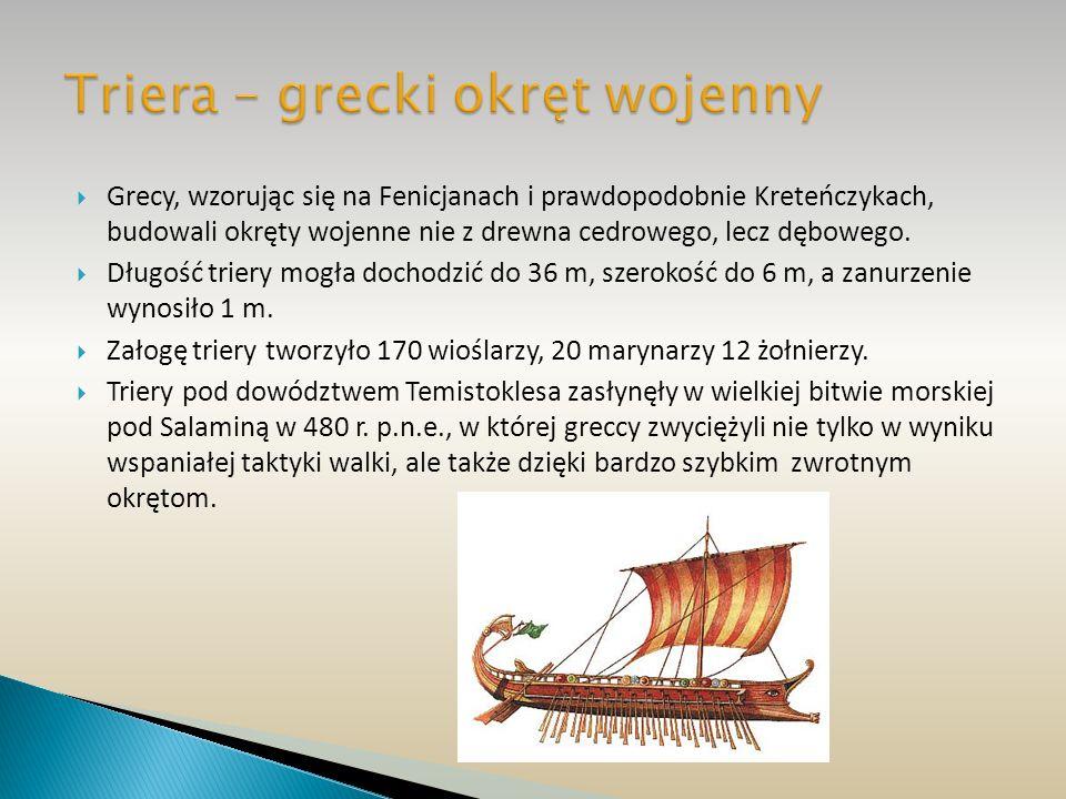 Grecy, wzorując się na Fenicjanach i prawdopodobnie Kreteńczykach, budowali okręty wojenne nie z drewna cedrowego, lecz dębowego. Długość triery mogła