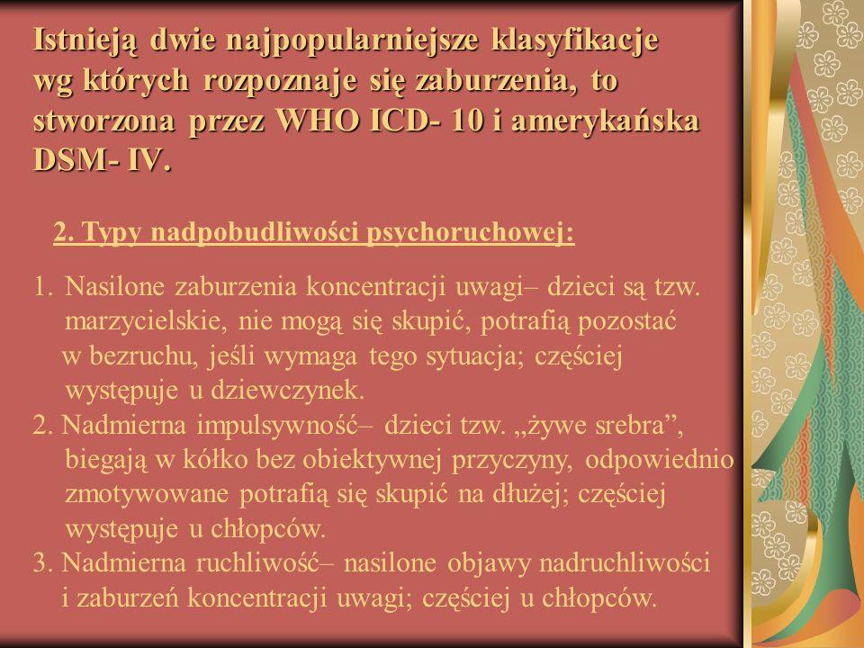 Istnieją dwie najpopularniejsze klasyfikacje wg których rozpoznaje się zaburzenia, to stworzona przez WHO ICD- 10 i amerykańska DSM- IV. 1. 1.Nasilone