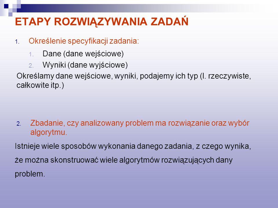 ETAPY ROZWIĄZYWANIA ZADAŃ 3.