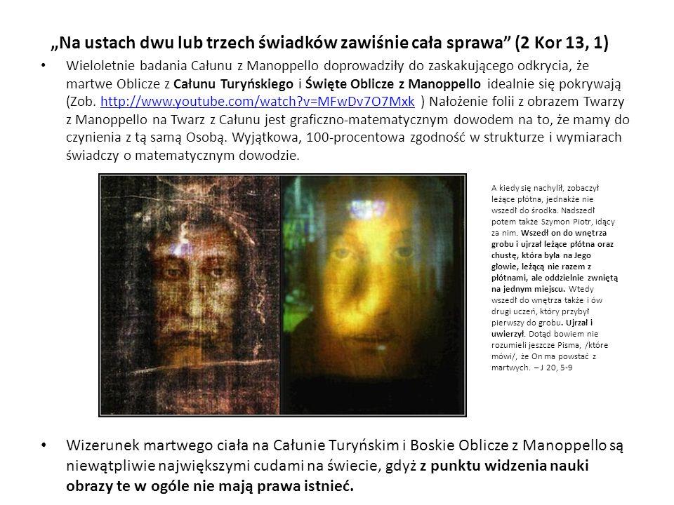 Na ustach dwu lub trzech świadków zawiśnie cała sprawa (2 Kor 13, 1) Wieloletnie badania Całunu z Manoppello doprowadziły do zaskakującego odkrycia, ż