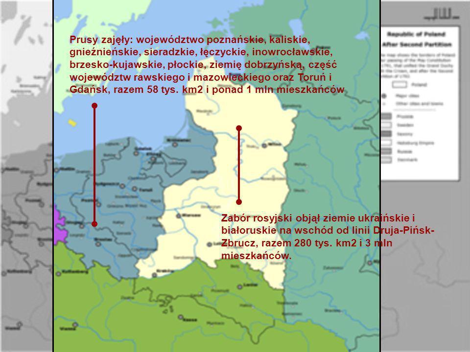 Prusy zajęły: województwo poznańskie, kaliskie, gnieźnieńskie, sieradzkie, łęczyckie, inowrocławskie, brzesko-kujawskie, płockie, ziemię dobrzyńską, c