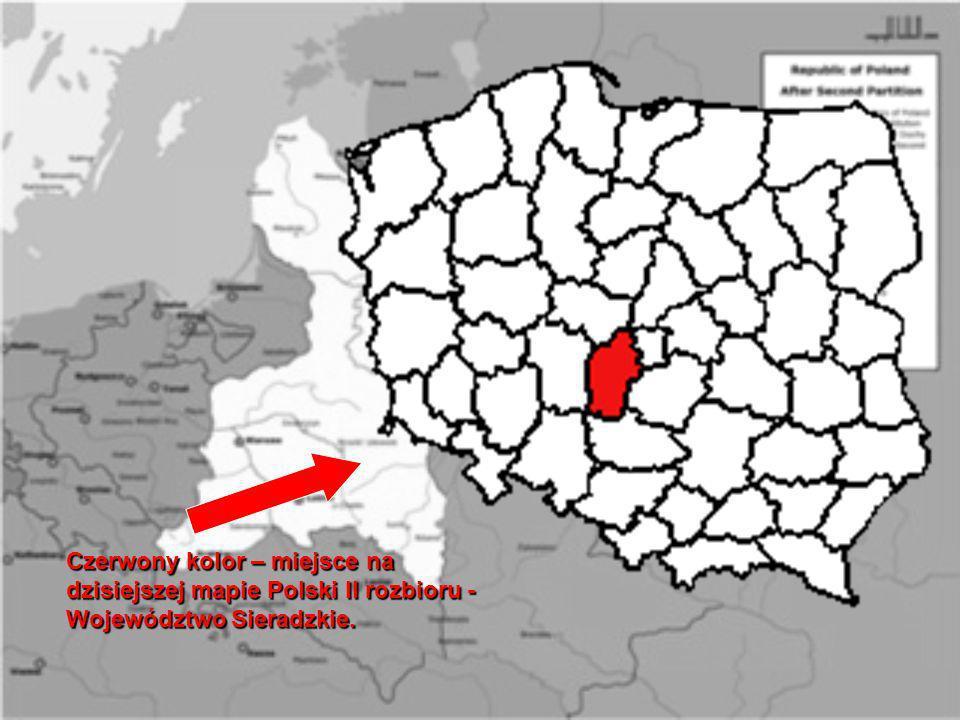 Czerwony kolor – miejsce na dzisiejszej mapie Polski II rozbioru - Województwo Sieradzkie.