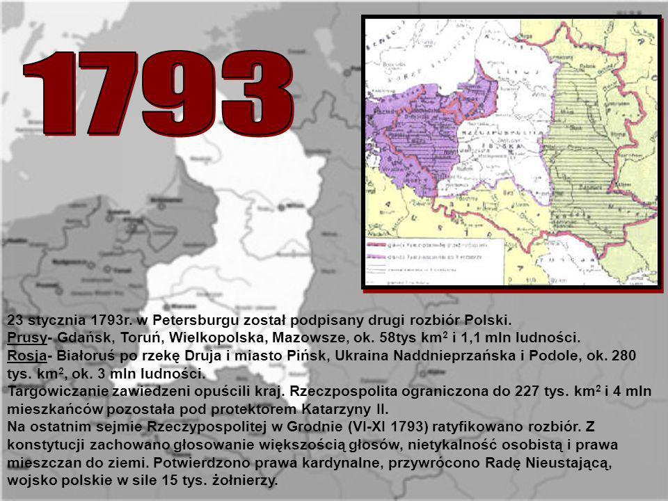 23 stycznia 1793r. w Petersburgu został podpisany drugi rozbiór Polski. Prusy- Gdańsk, Toruń, Wielkopolska, Mazowsze, ok. 58tys km 2 i 1,1 mln ludnośc