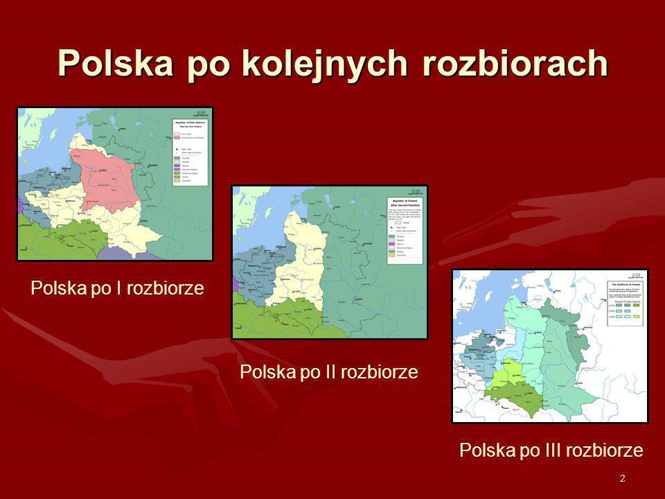 2 Polska po kolejnych rozbiorach Polska po I rozbiorze Polska po II rozbiorze Polska po III rozbiorze