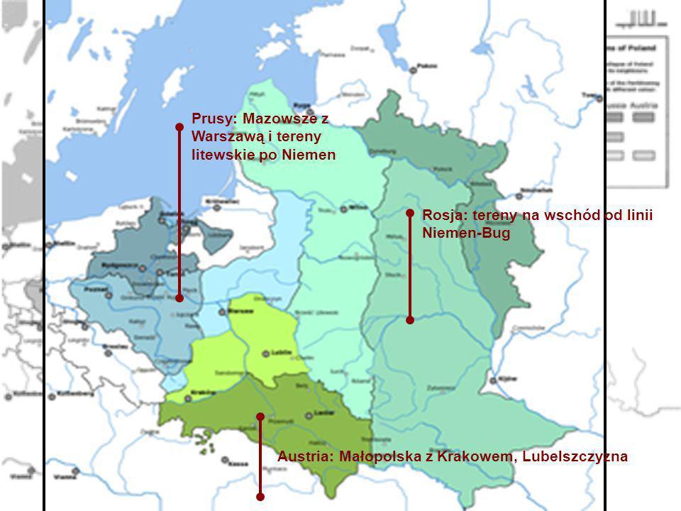 Austria: Małopolska z Krakowem, Lubelszczyzna Prusy: Mazowsze z Warszawą i tereny litewskie po Niemen Rosja: tereny na wschód od linii Niemen-Bug