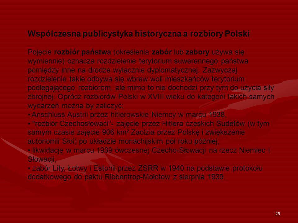 29 Współczesna publicystyka historyczna a rozbiory Polski Pojęcie rozbiór państwa (określenia zabór lub zabory używa się wymiennie) oznacza rozdzielen