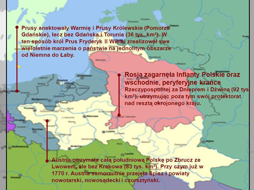 Austria otrzymała całą południową Polskę po Zbrucz ze Lwowem, ale bez Krakowa (83 tys. km²). Przy czym już w 1770 r. Austria samorzutnie przejęła Spis
