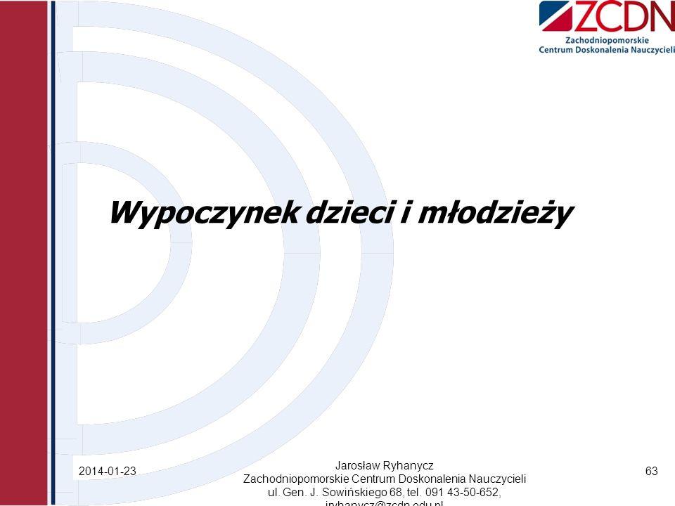 Wypoczynek dzieci i młodzieży 2014-01-23 Jarosław Ryhanycz Zachodniopomorskie Centrum Doskonalenia Nauczycieli ul.