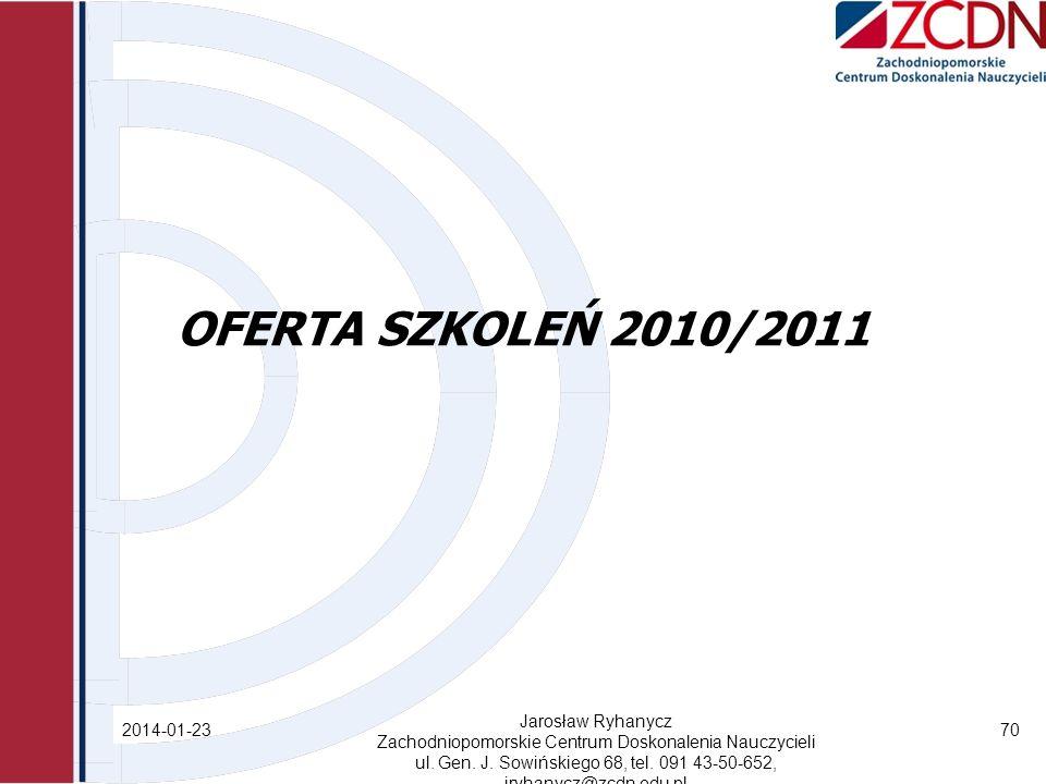 OFERTA SZKOLEŃ 2010/2011 2014-01-23 Jarosław Ryhanycz Zachodniopomorskie Centrum Doskonalenia Nauczycieli ul.