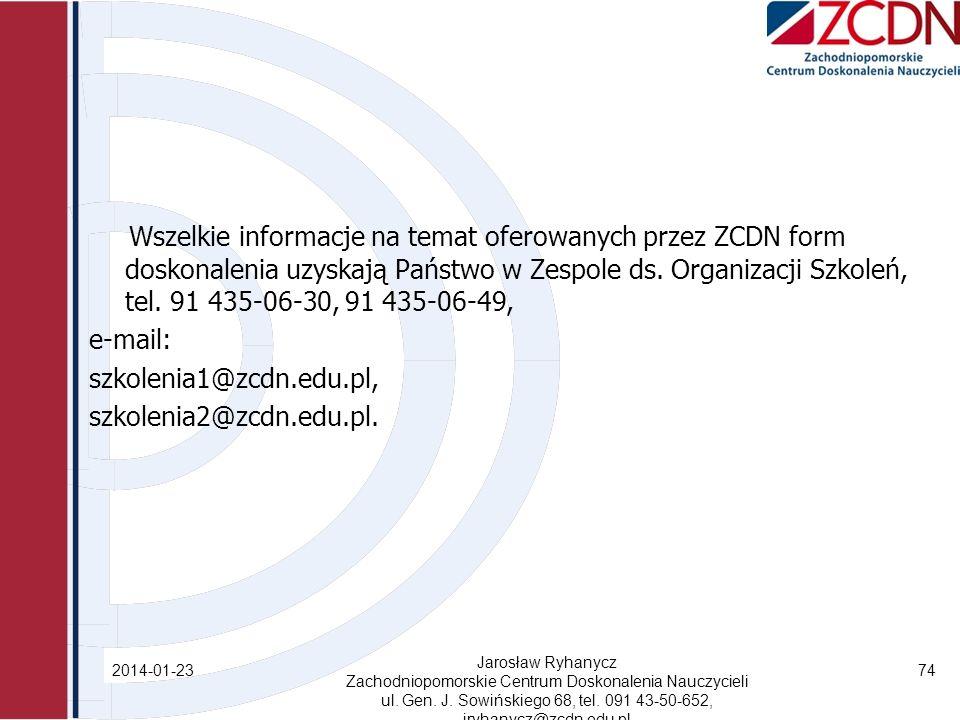 Wszelkie informacje na temat oferowanych przez ZCDN form doskonalenia uzyskają Państwo w Zespole ds.