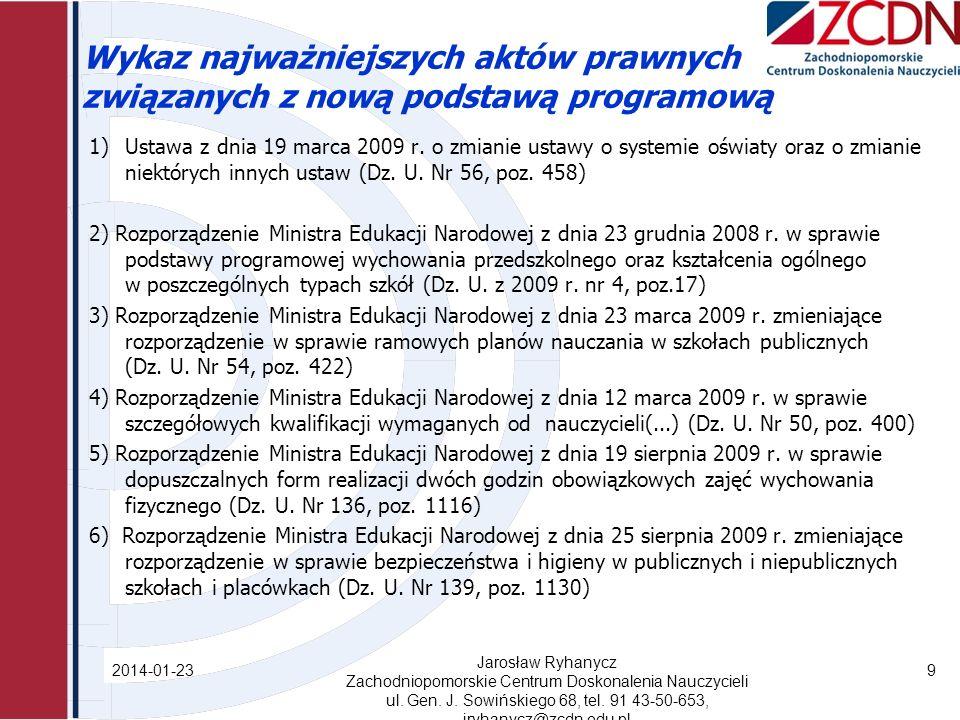 Wykaz najważniejszych aktów prawnych związanych z nową podstawą programową 1)Ustawa z dnia 19 marca 2009 r.