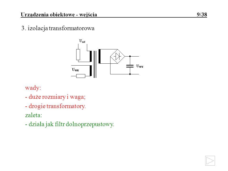 Urządzenia obiektowe - wejścia 9/38 3. izolacja transformatorowa wady: - duże rozmiary i waga; - drogie transformatory. zaleta: - działa jak filtr dol