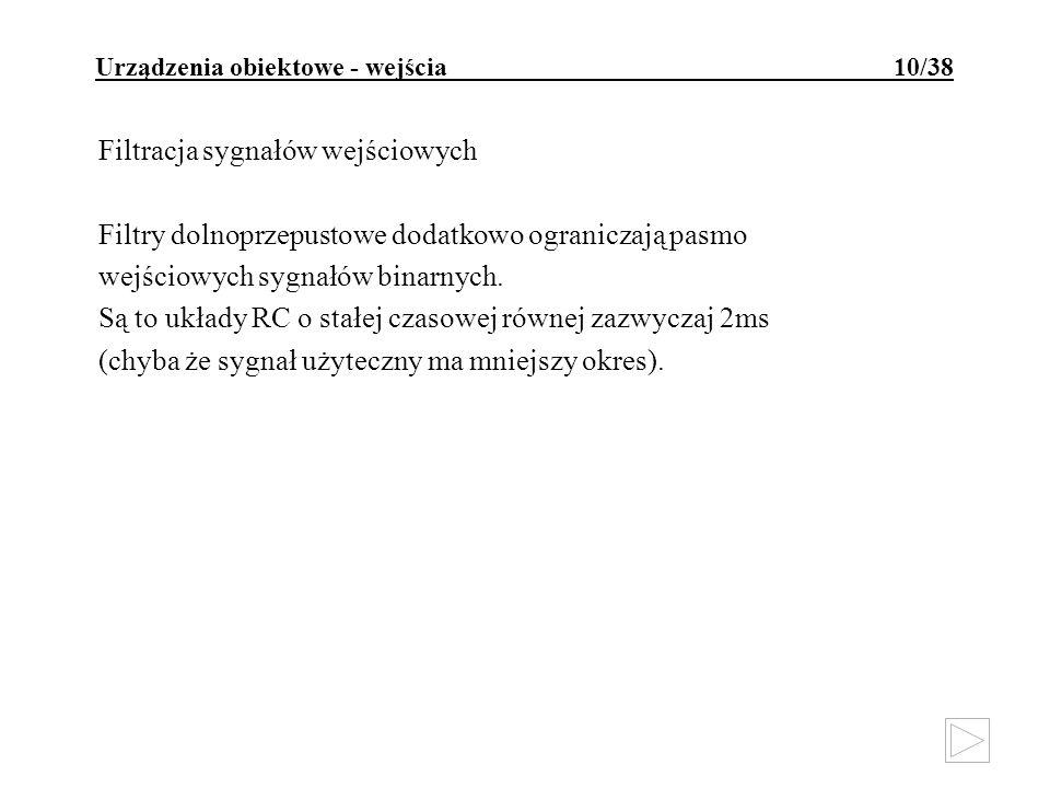 Urządzenia obiektowe - wejścia 10/38 Filtracja sygnałów wejściowych Filtry dolnoprzepustowe dodatkowo ograniczają pasmo wejściowych sygnałów binarnych