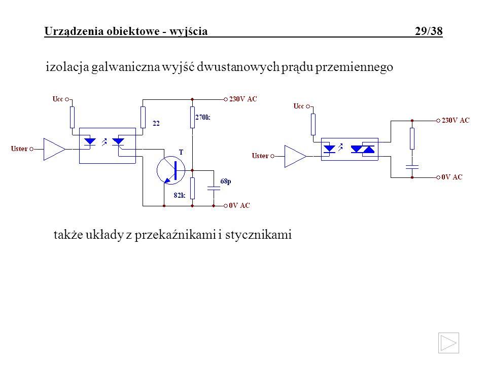 Urządzenia obiektowe - wyjścia 29/38 izolacja galwaniczna wyjść dwustanowych prądu przemiennego także układy z przekaźnikami i stycznikami