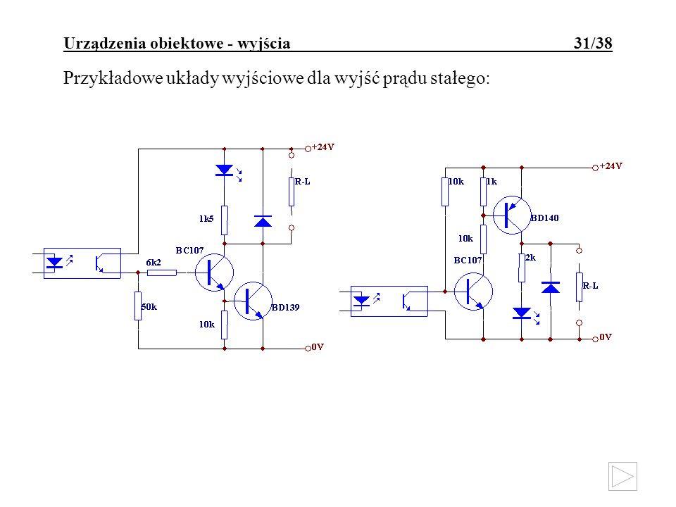 Urządzenia obiektowe - wyjścia 31/38 Przykładowe układy wyjściowe dla wyjść prądu stałego: