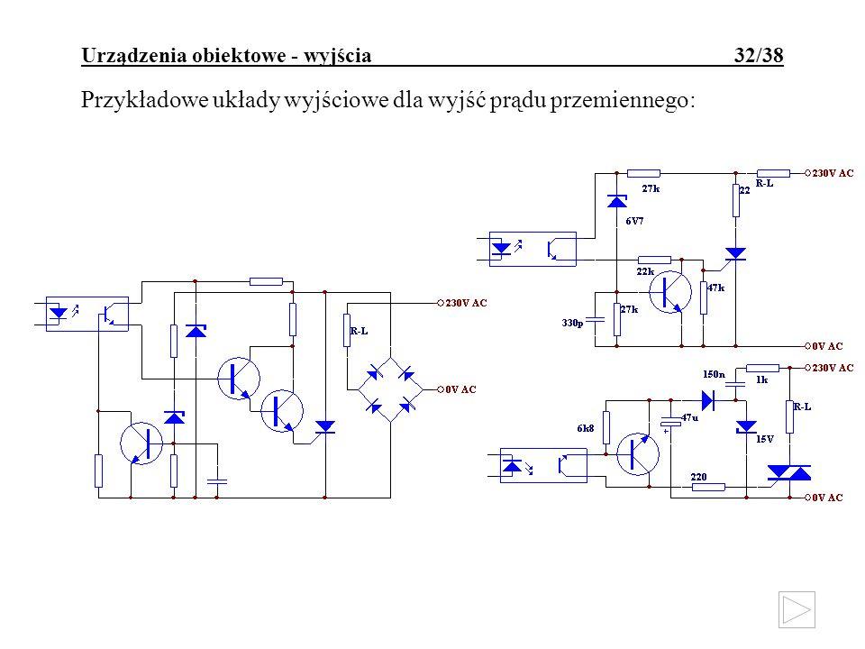 Urządzenia obiektowe - wyjścia 32/38 Przykładowe układy wyjściowe dla wyjść prądu przemiennego: