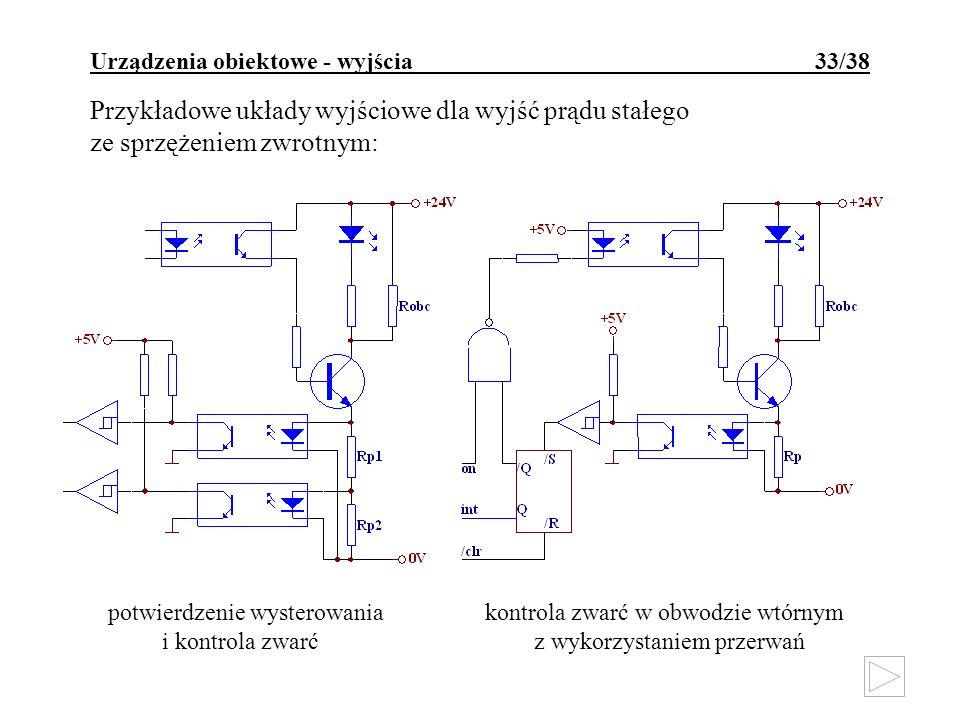 Urządzenia obiektowe - wyjścia 33/38 Przykładowe układy wyjściowe dla wyjść prądu stałego ze sprzężeniem zwrotnym: potwierdzenie wysterowania kontrola