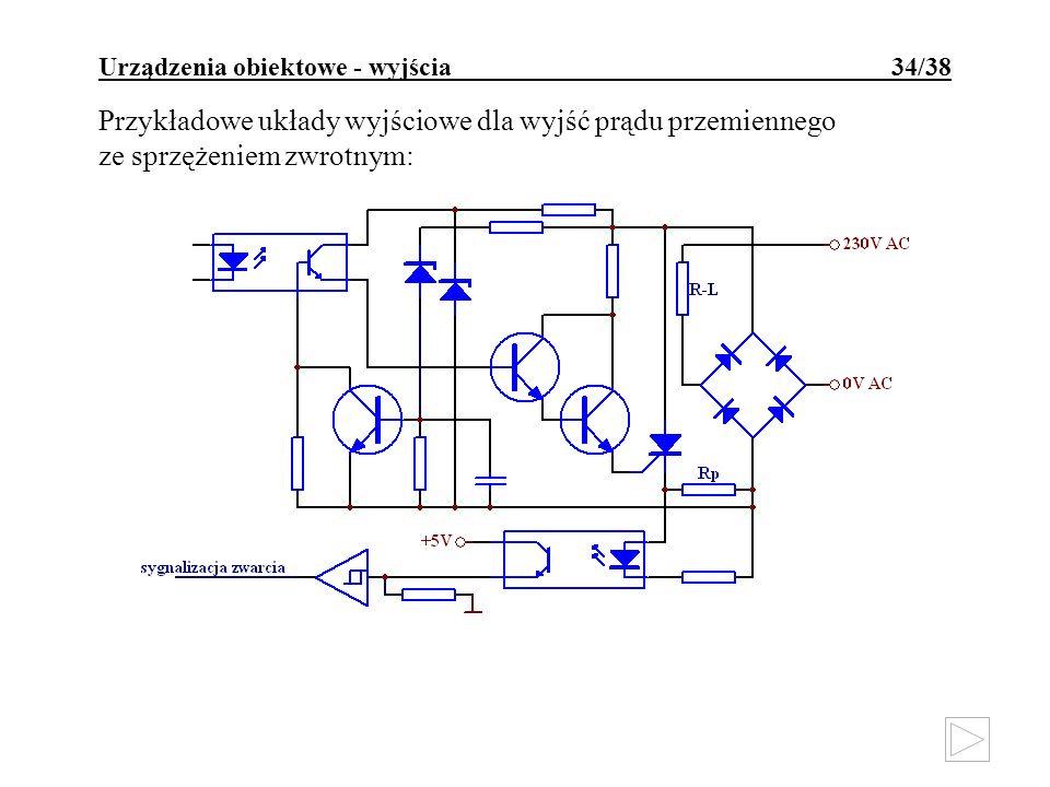Urządzenia obiektowe - wyjścia 34/38 Przykładowe układy wyjściowe dla wyjść prądu przemiennego ze sprzężeniem zwrotnym: