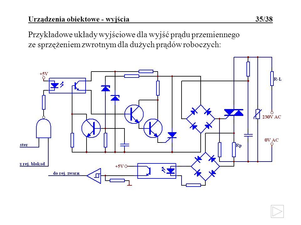 Urządzenia obiektowe - wyjścia 35/38 Przykładowe układy wyjściowe dla wyjść prądu przemiennego ze sprzężeniem zwrotnym dla dużych prądów roboczych: