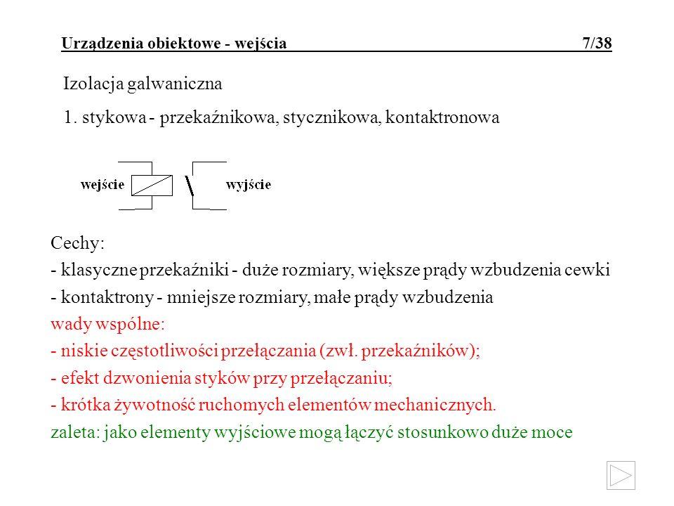 Urządzenia obiektowe - wejścia 7/38 Izolacja galwaniczna 1. stykowa - przekaźnikowa, stycznikowa, kontaktronowa Cechy: - klasyczne przekaźniki - duże