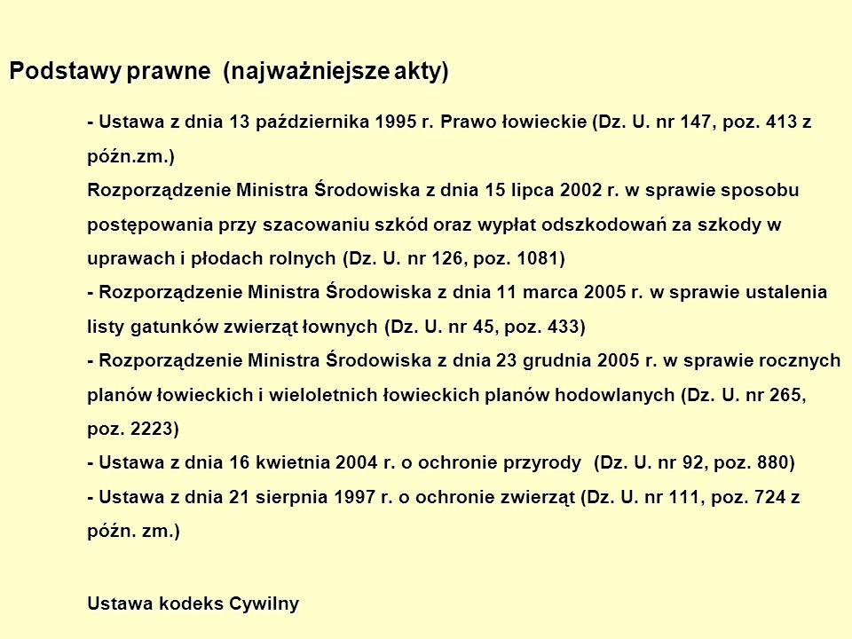 Podstawy prawne (najważniejsze akty) - Ustawa z dnia 13 października 1995 r. Prawo łowieckie (Dz. U. nr 147, poz. 413 z późn.zm.) Rozporządzenie Minis