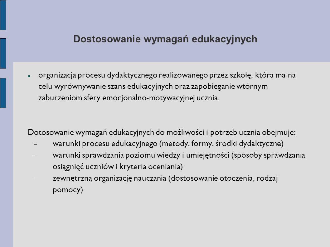 Dostosowanie wymagań edukacyjnych organizacja procesu dydaktycznego realizowanego przez szkołę, która ma na celu wyrównywanie szans edukacyjnych oraz