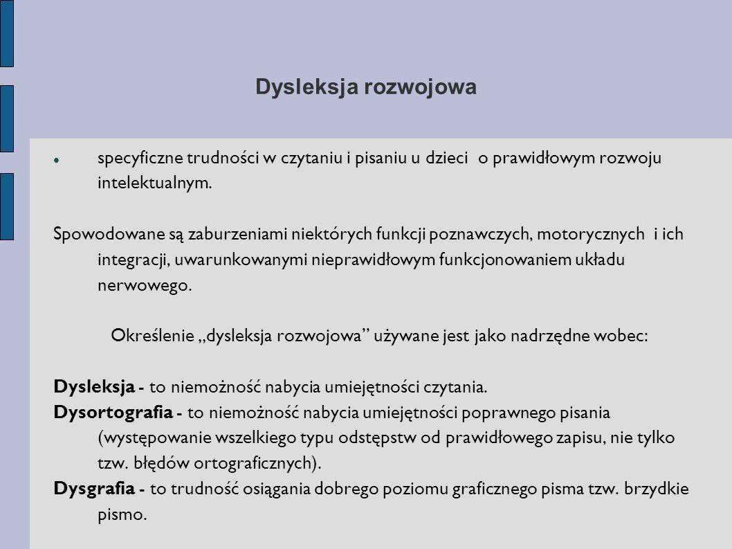 Dysleksja rozwojowa specyficzne trudności w czytaniu i pisaniu u dzieci o prawidłowym rozwoju intelektualnym. Spowodowane są zaburzeniami niektórych f