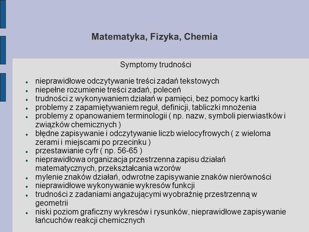Matematyka, Fizyka, Chemia Symptomy trudności nieprawidłowe odczytywanie treści zadań tekstowych niepełne rozumienie treści zadań, poleceń trudności z