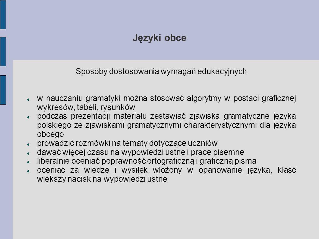 Języki obce Sposoby dostosowania wymagań edukacyjnych w nauczaniu gramatyki można stosować algorytmy w postaci graficznej wykresów, tabeli, rysunków p