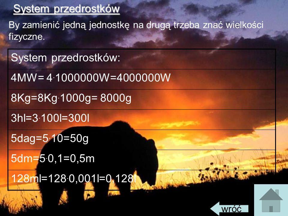 System przedrostkówSystem przedrostków: 4MW= 4. 1000000W=4000000W 8Kg=8Kg. 1000g= 8000g 3hl=3. 100l=300l 5dag=5. 10=50g 5dm=5. 0,1=0,5m 128ml=128. 0,0