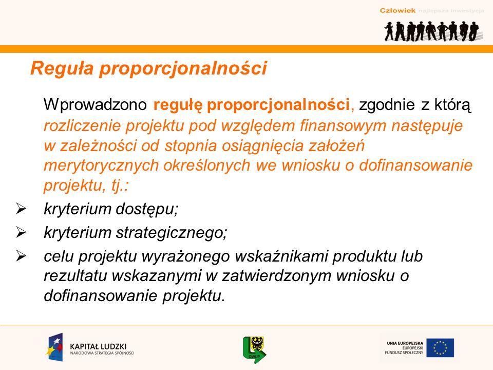 Reguła proporcjonalności Wprowadzono regułę proporcjonalności, zgodnie z którą rozliczenie projektu pod względem finansowym następuje w zależności od stopnia osiągnięcia założeń merytorycznych określonych we wniosku o dofinansowanie projektu, tj.: kryterium dostępu; kryterium strategicznego; celu projektu wyrażonego wskaźnikami produktu lub rezultatu wskazanymi w zatwierdzonym wniosku o dofinansowanie projektu.