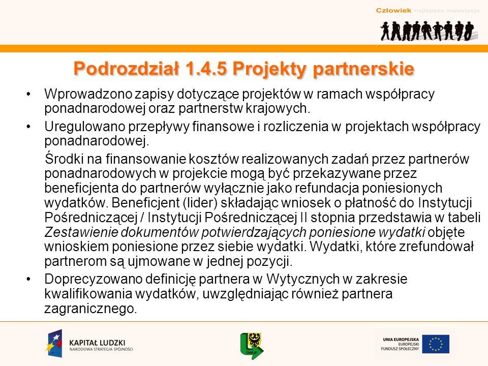 Podrozdział 1.4.5 Projekty partnerskie Wprowadzono zapisy dotyczące projektów w ramach współpracy ponadnarodowej oraz partnerstw krajowych.