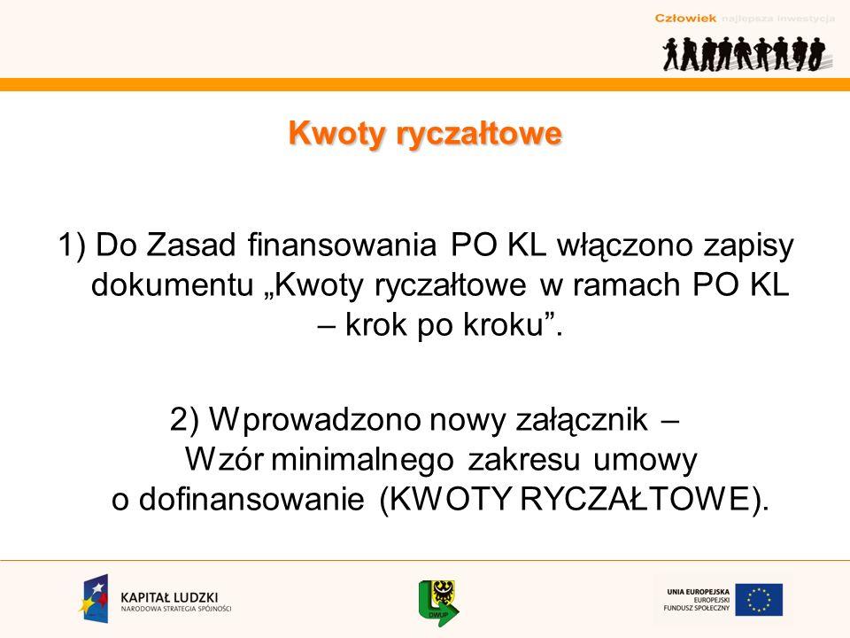 1) Do Zasad finansowania PO KL włączono zapisy dokumentu Kwoty ryczałtowe w ramach PO KL – krok po kroku.