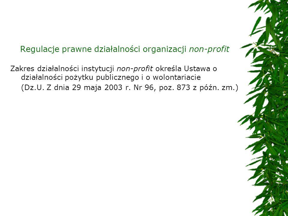 Regulacje prawne działalności organizacji non-profit Zakres działalności instytucji non-profit określa Ustawa o działalności pożytku publicznego i o w