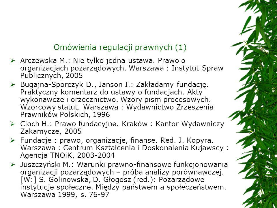 Omówienia regulacji prawnych (1) Arczewska M.: Nie tylko jedna ustawa. Prawo o organizacjach pozarządowych. Warszawa : Instytut Spraw Publicznych, 200