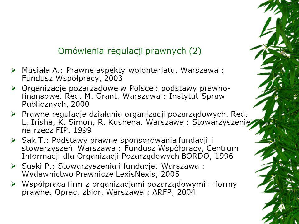 Omówienia regulacji prawnych (2) Musiała A.: Prawne aspekty wolontariatu. Warszawa : Fundusz Współpracy, 2003 Organizacje pozarządowe w Polsce : podst