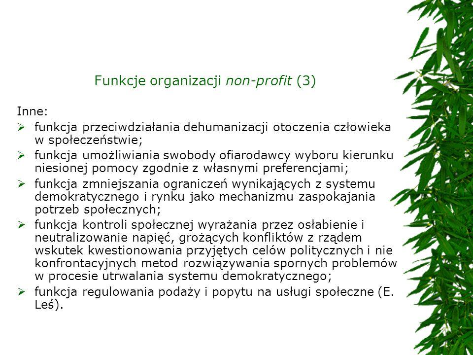 Funkcje organizacji non-profit (3) Inne: funkcja przeciwdziałania dehumanizacji otoczenia człowieka w społeczeństwie; funkcja umożliwiania swobody ofi
