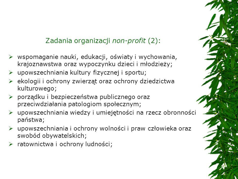 Zadania organizacji non-profit (2): wspomaganie nauki, edukacji, oświaty i wychowania, krajoznawstwa oraz wypoczynku dzieci i młodzieży; upowszechnian