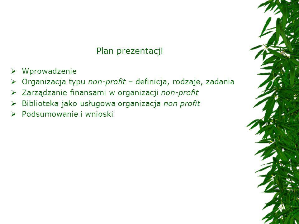 Plan prezentacji Wprowadzenie Organizacja typu non-profit – definicja, rodzaje, zadania Zarządzanie finansami w organizacji non-profit Biblioteka jako