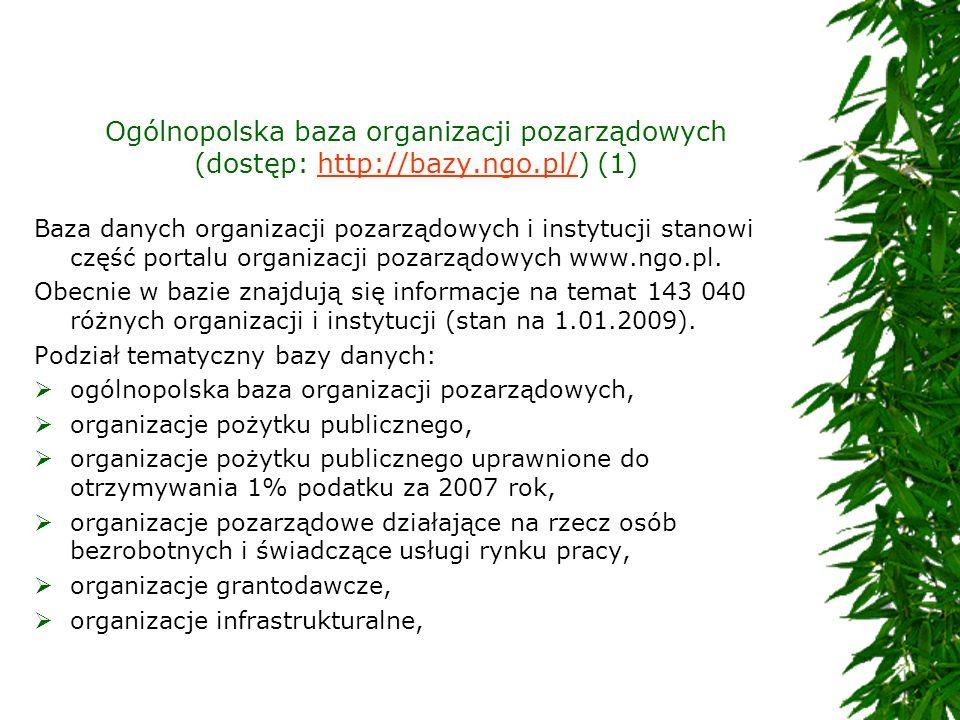 Ogólnopolska baza organizacji pozarządowych (dostęp: http://bazy.ngo.pl/) (1)http://bazy.ngo.pl/ Baza danych organizacji pozarządowych i instytucji st