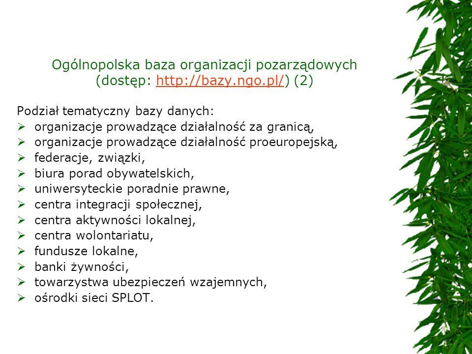 Ogólnopolska baza organizacji pozarządowych (dostęp: http://bazy.ngo.pl/) (2)http://bazy.ngo.pl/ Podział tematyczny bazy danych: organizacje prowadząc