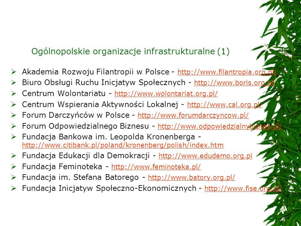 Ogólnopolskie organizacje infrastrukturalne (1) Akademia Rozwoju Filantropii w Polsce - http://www.filantropia.org.pl/ http://www.filantropia.org.pl/