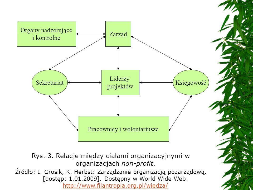 Rys. 3. Relacje między ciałami organizacyjnymi w organizacjach non-profit. Źródło: I. Grosik, K. Herbst: Zarządzanie organizacją pozarządową. [dostęp:
