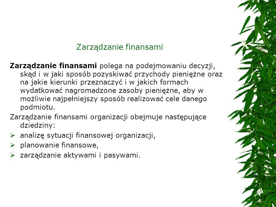 Zarządzanie finansami Zarządzanie finansami polega na podejmowaniu decyzji, skąd i w jaki sposób pozyskiwać przychody pieniężne oraz na jakie kierunki