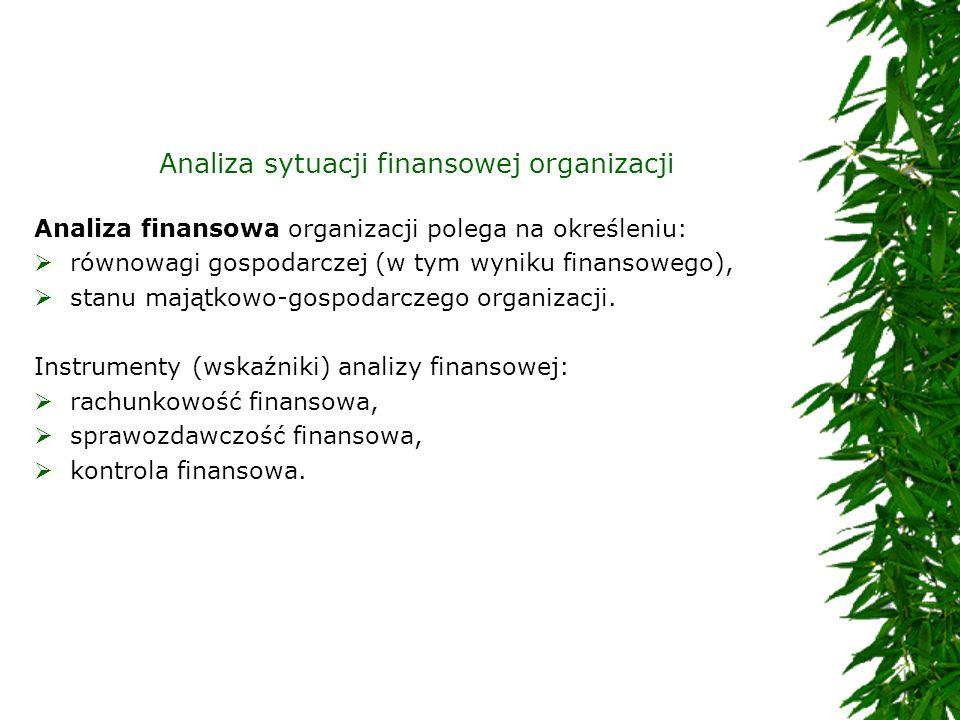Analiza sytuacji finansowej organizacji Analiza finansowa organizacji polega na określeniu: równowagi gospodarczej (w tym wyniku finansowego), stanu m