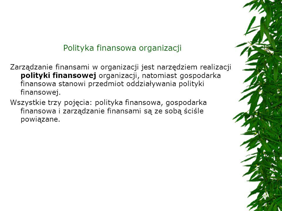 Polityka finansowa organizacji Zarządzanie finansami w organizacji jest narzędziem realizacji polityki finansowej organizacji, natomiast gospodarka fi