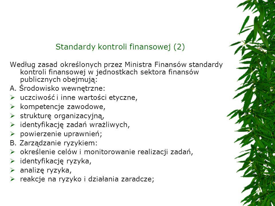 Standardy kontroli finansowej (2) Według zasad określonych przez Ministra Finansów standardy kontroli finansowej w jednostkach sektora finansów public