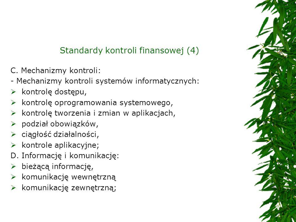 Standardy kontroli finansowej (4) C. Mechanizmy kontroli: - Mechanizmy kontroli systemów informatycznych: kontrolę dostępu, kontrolę oprogramowania sy