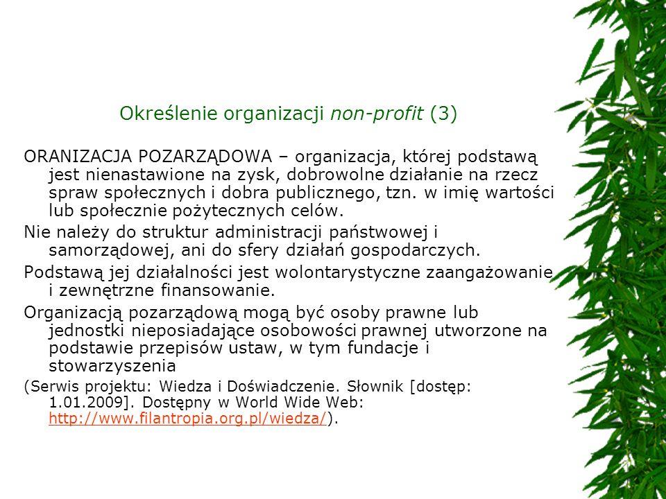 Określenie organizacji non-profit (3) ORANIZACJA POZARZĄDOWA – organizacja, której podstawą jest nienastawione na zysk, dobrowolne działanie na rzecz