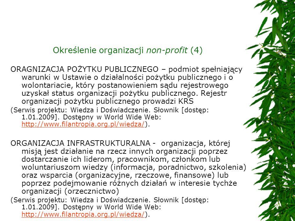 Określenie organizacji non-profit (4) ORAGNIZACJA POŻYTKU PUBLICZNEGO – podmiot spełniający warunki w Ustawie o działalności pożytku publicznego i o w